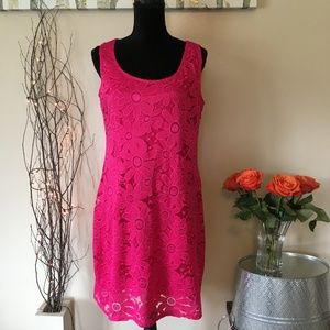 Large Tiana B Flower Print Hot Pink Dress